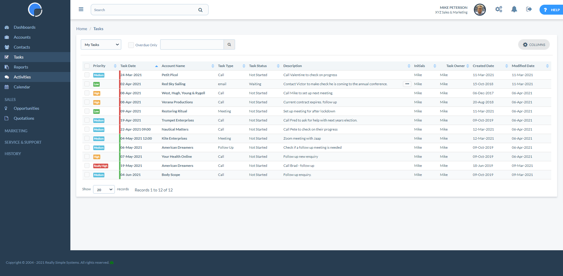 Really Simple Systems CRM Software - My Tasks Summary