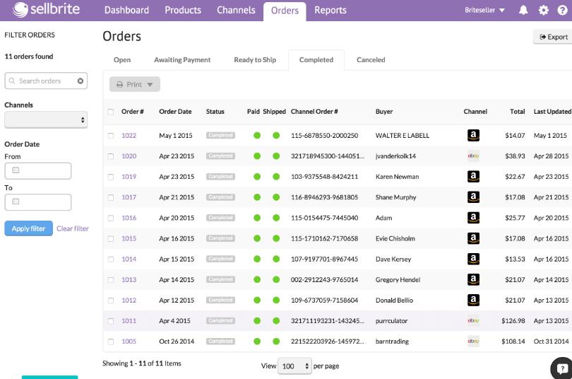 Sellbrite Software - Sellbrite order management