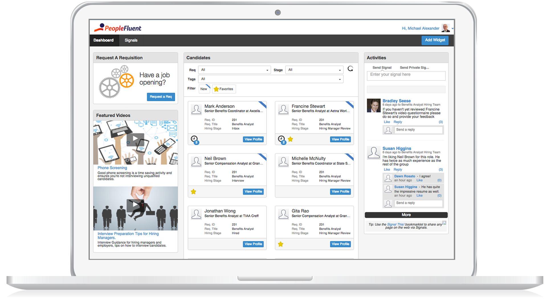 PeopleFluent Learning Software - Dashboard