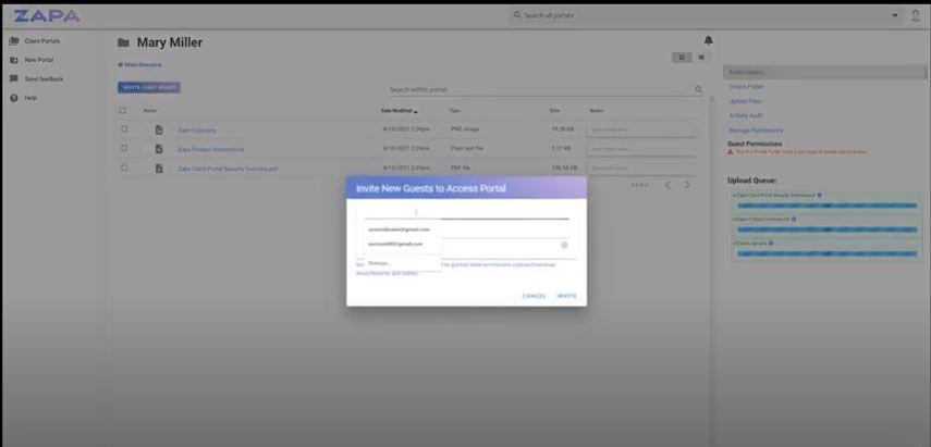 Zapa Client Portals providing guest access