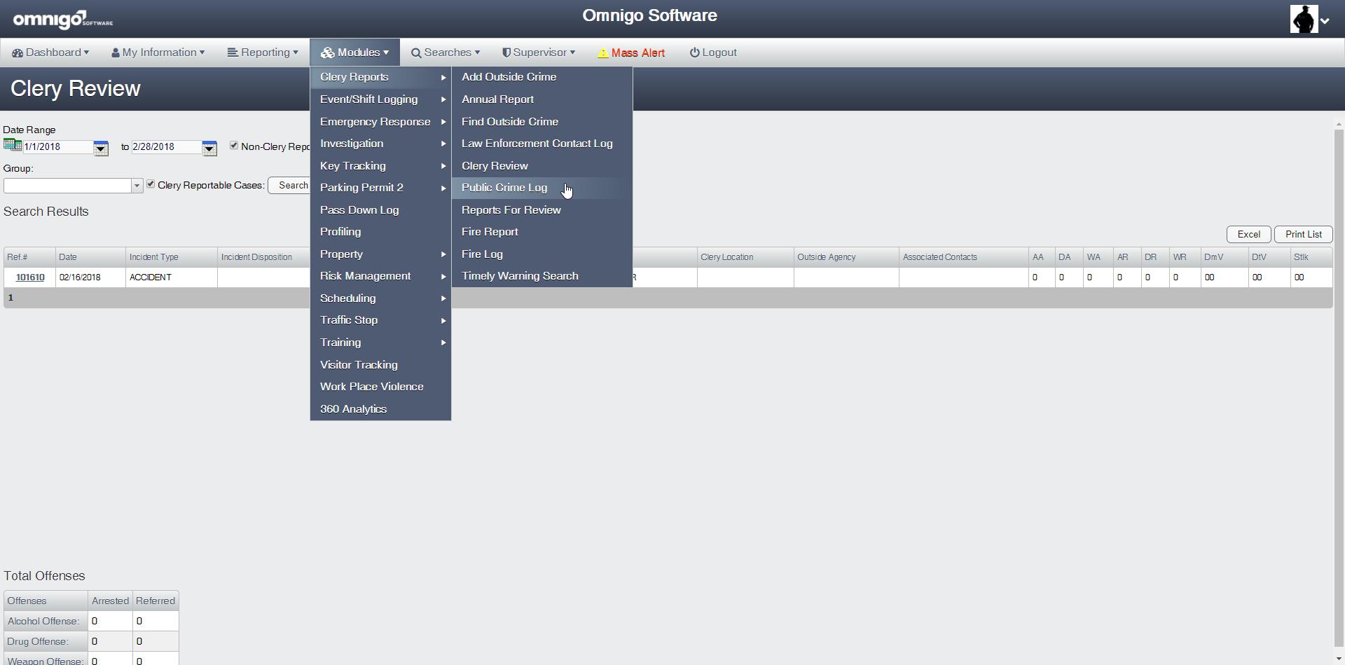Omnigo Software - Omnigo - Clery reports