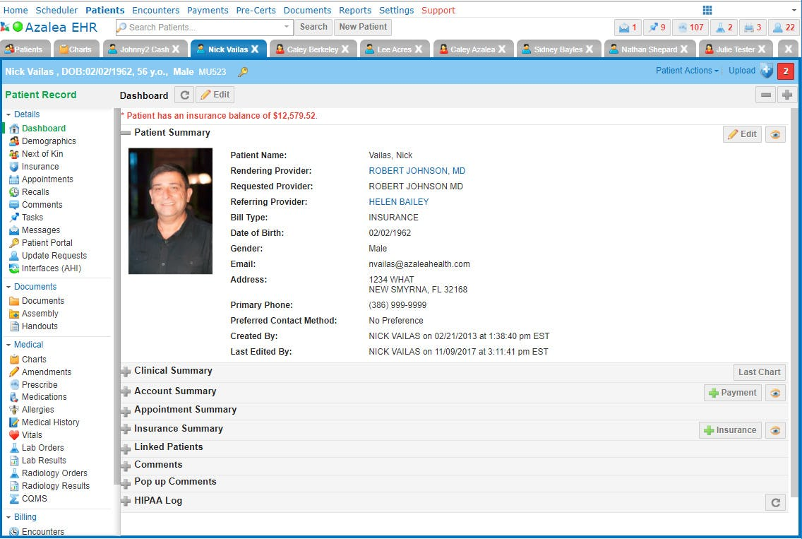 Azalea Health Software - Patient dashboard