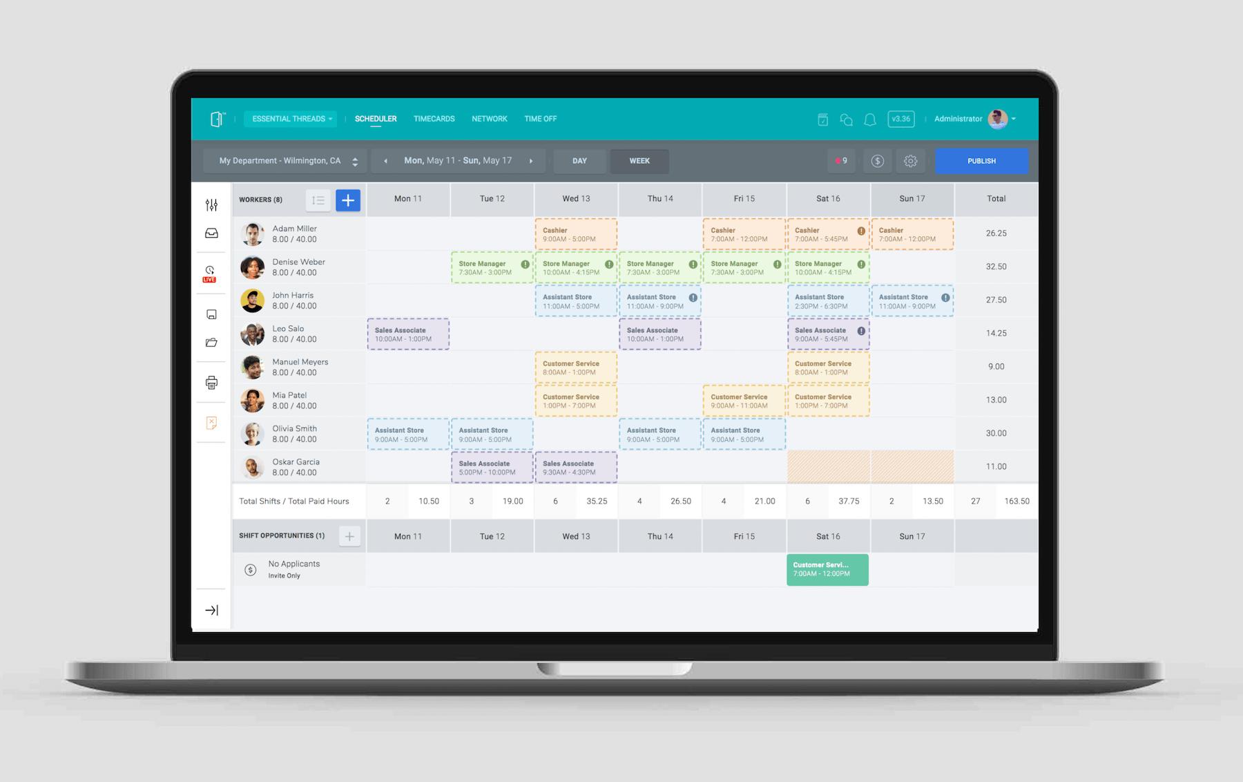 SocialSchedules Software - Manager's Weekly Scheduler