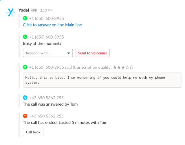 Yodel receiving calls in Slack