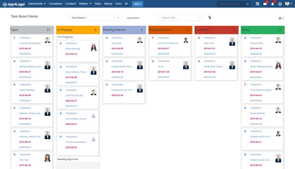 App4Legal Software - Task board
