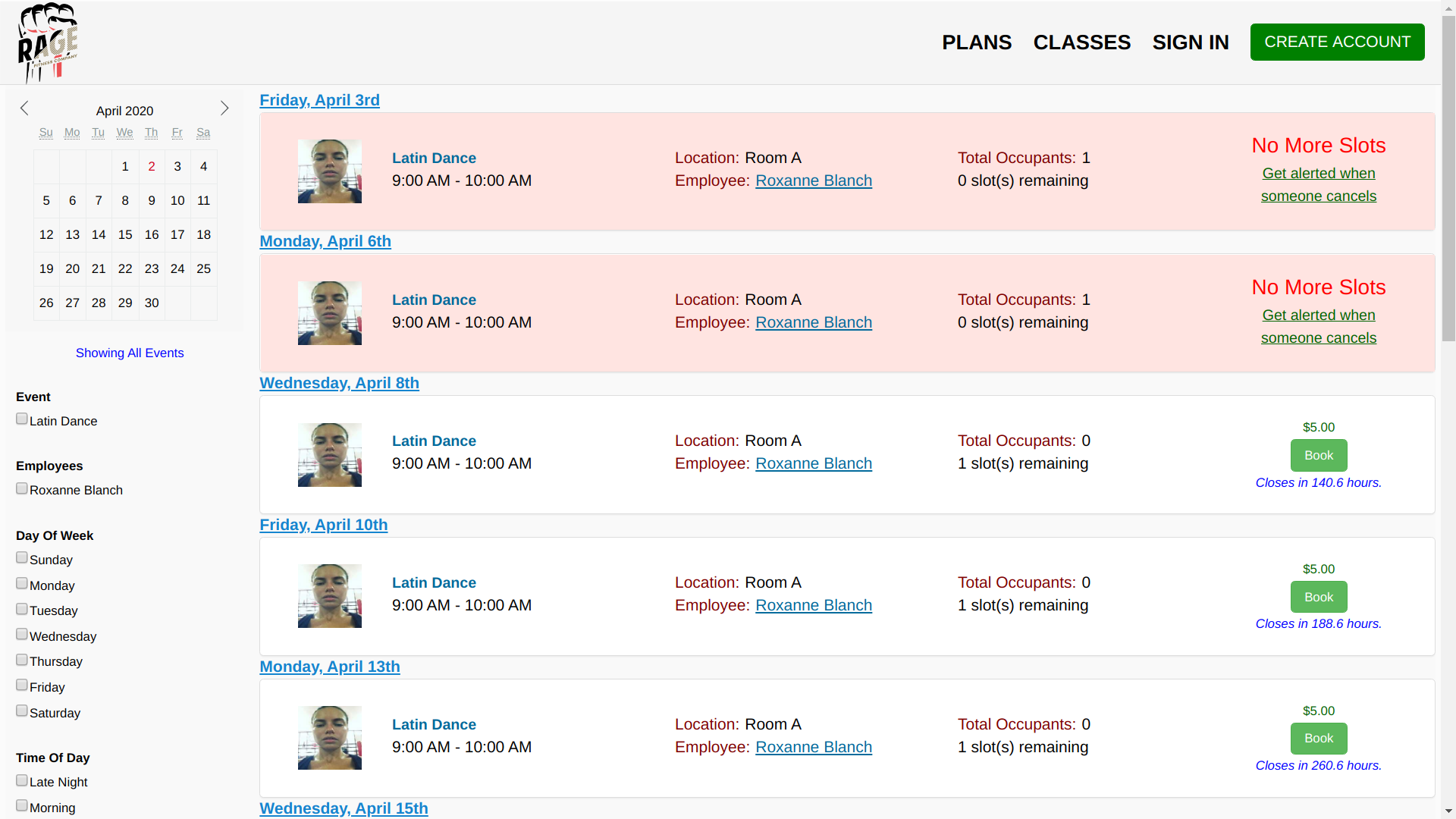 Membership Integrity System screenshot: Online Booking
