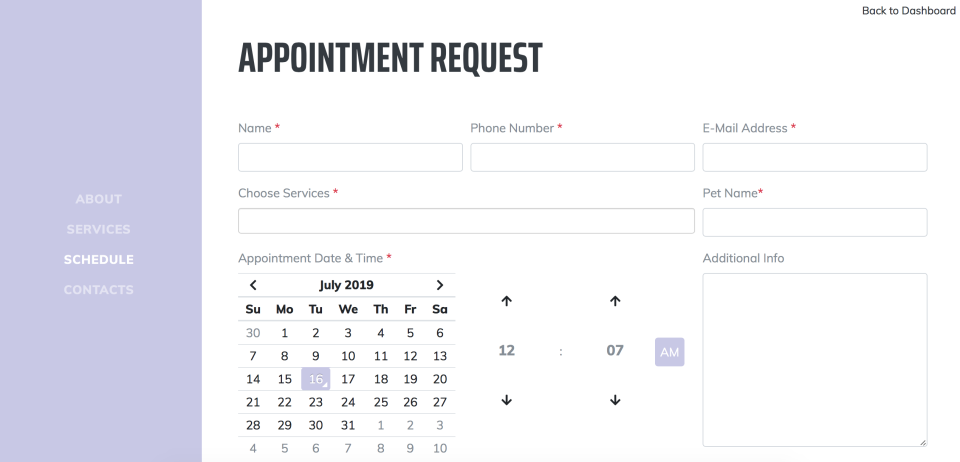 Doxford create appointment request page