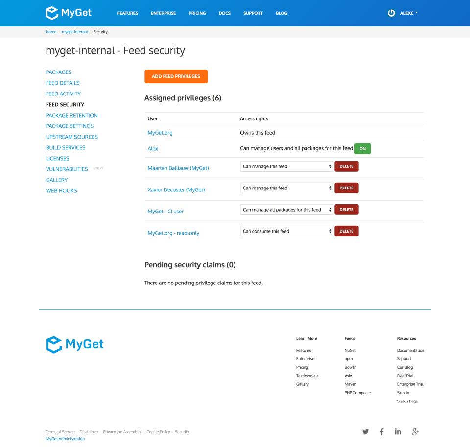 MyGet dashboard