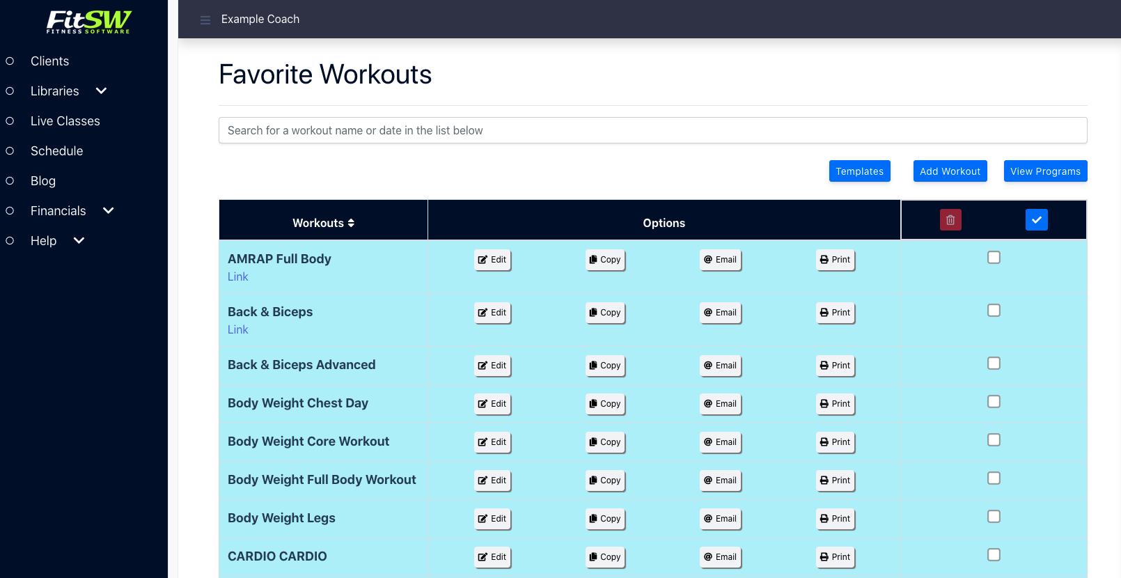 Save Workouts