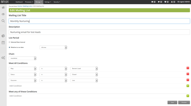 Email marketing campaigns can be sent to specific user segments using the list management tool
