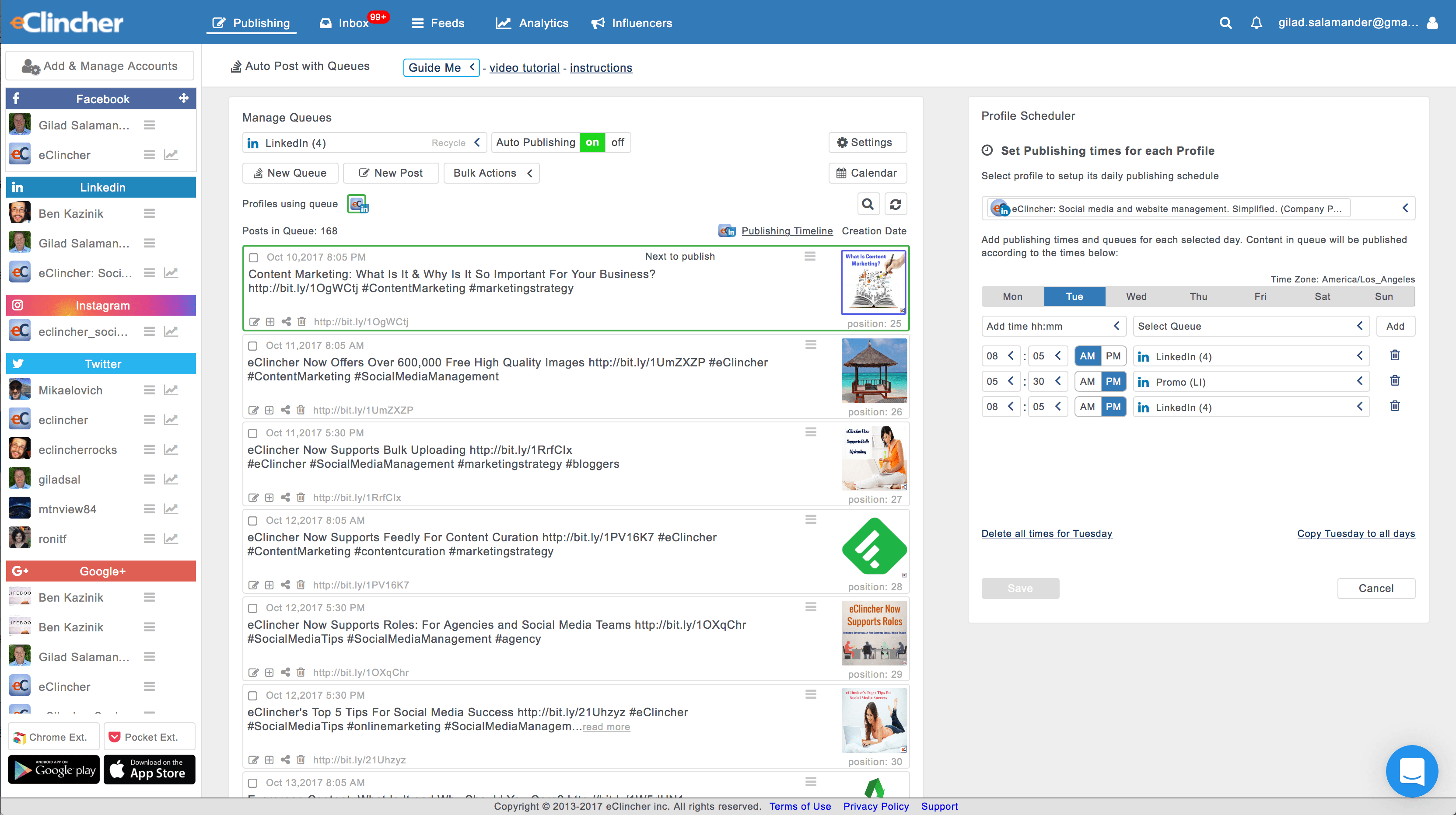 eClincher Software - Organize posts into queues and automate publishing to all social media accounts