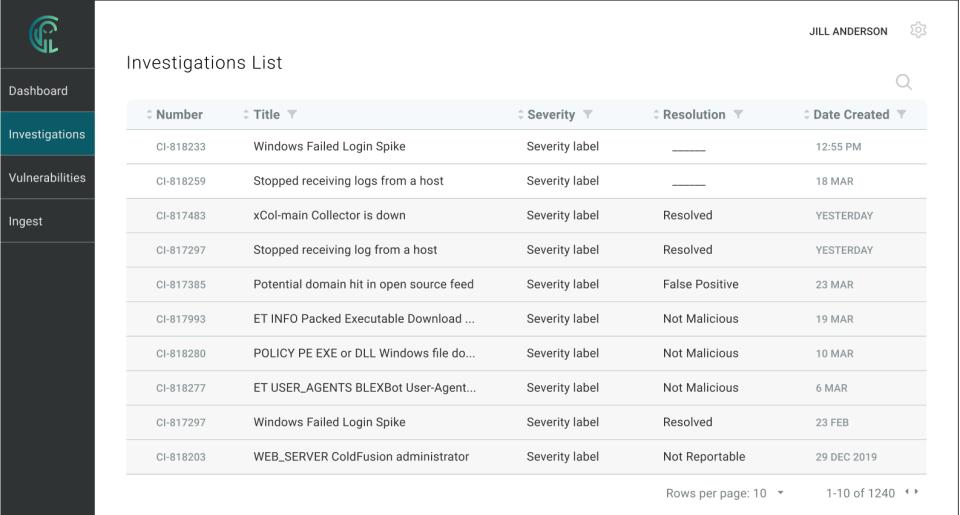 Critical Insight Software - Instigations list tool