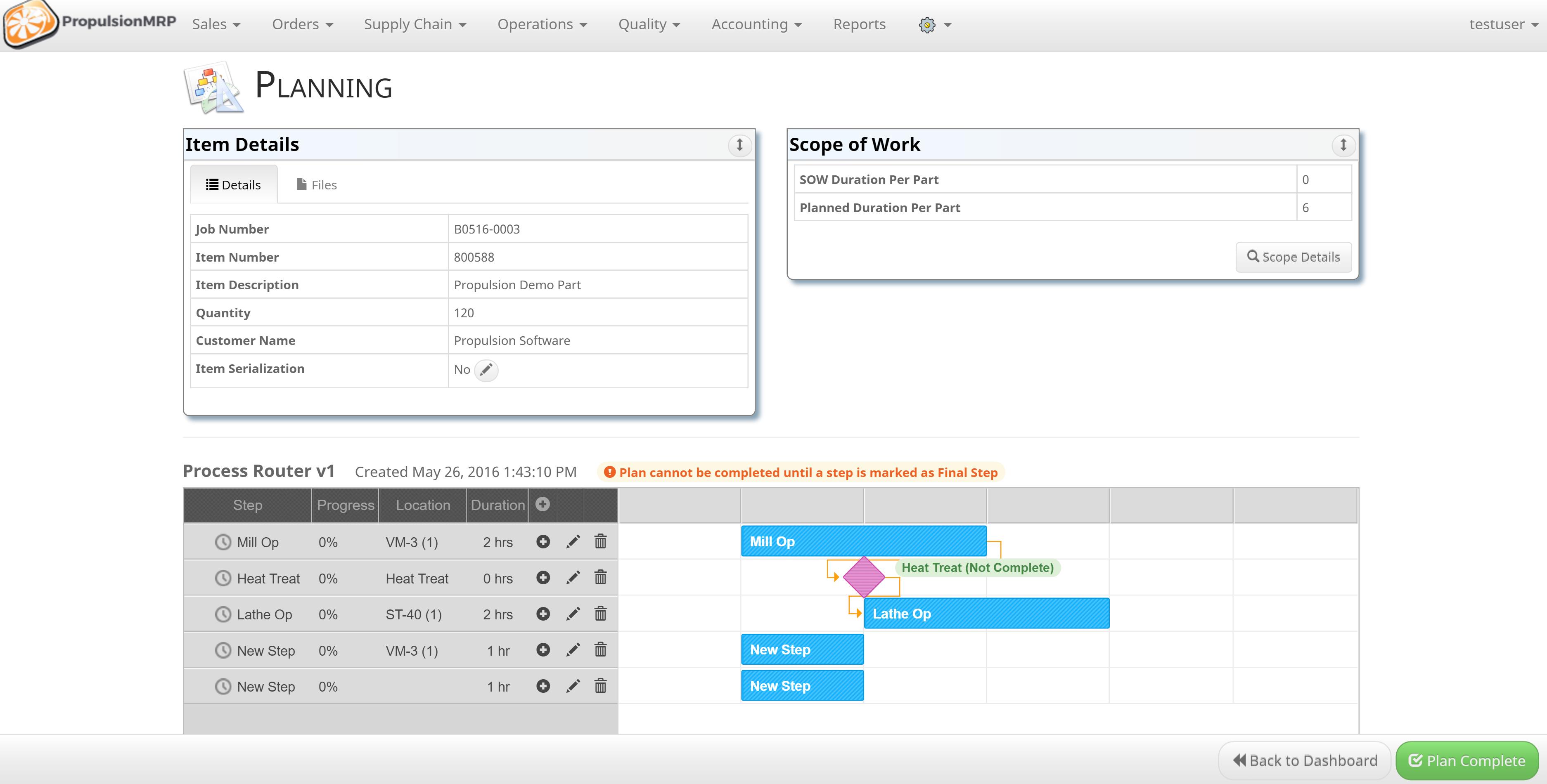PropulsionMRP Software - Planning