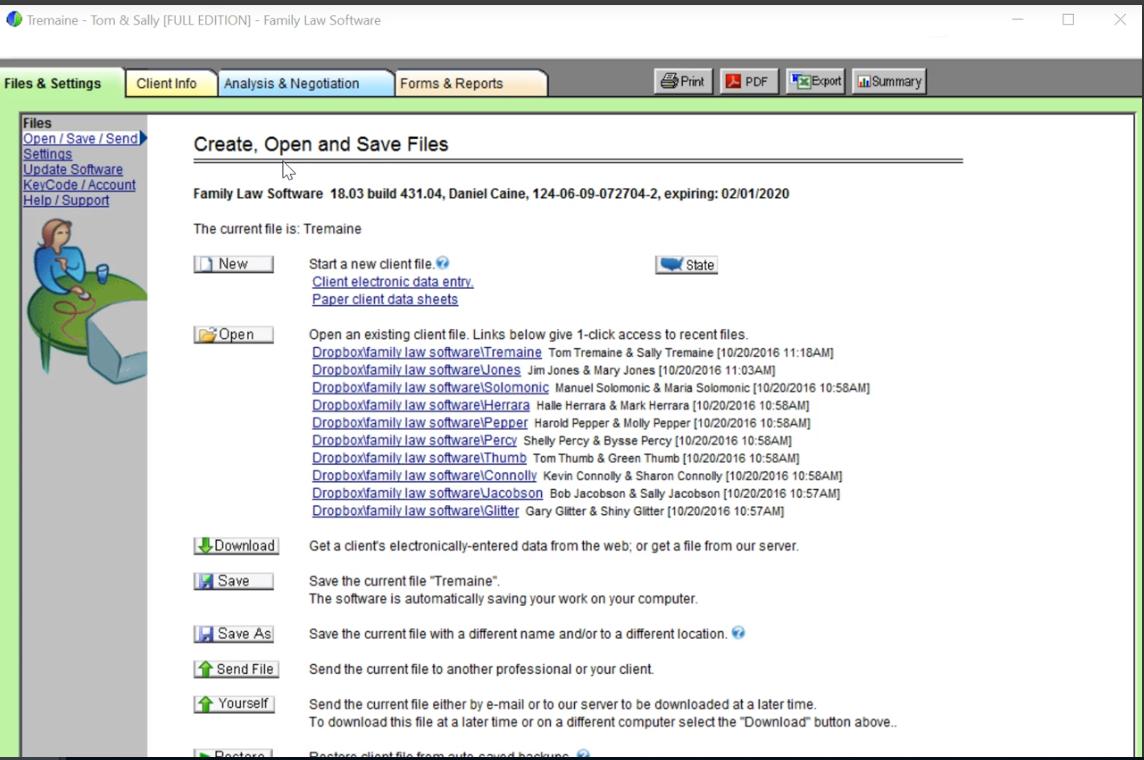 Family Law Software file settings screenshot