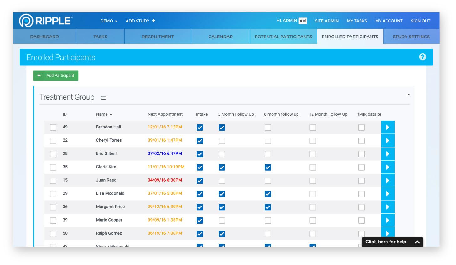 Ripple enrolled participants screenshot