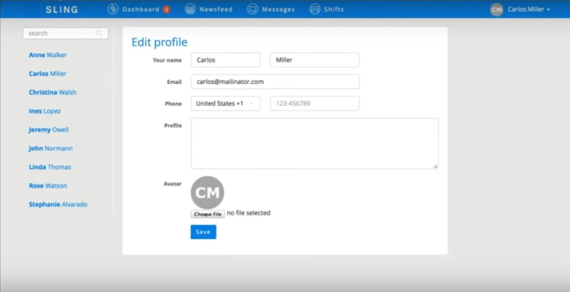 Employees can setup their own profiles on Sling