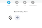 Sniply screenshot: Users can select an existing brand or create a new brand
