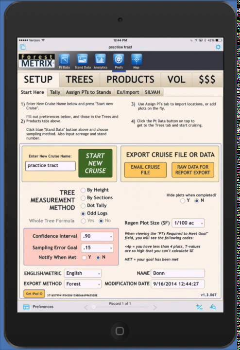 Forest Metrix iPad dashboard