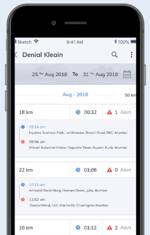 Travel summaries can be filtered by individual driver to track their performance