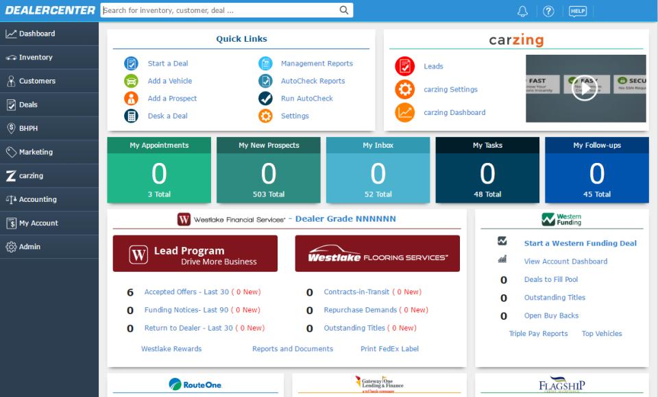 DealerCenter Home Page