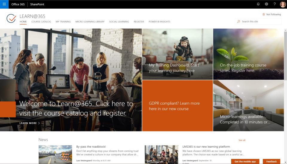 LMS365 Software - Portal frontpage