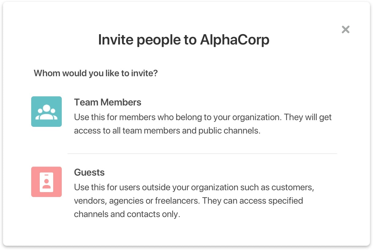 Add people as guests on Flock and specify the chats and channels they can access