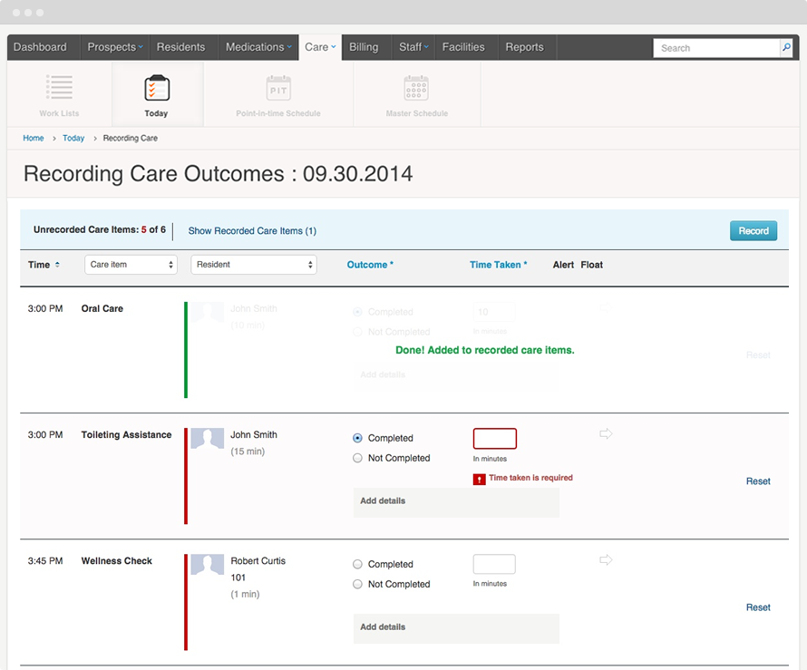 Keep track of the care given to each resident with the care tracking feature