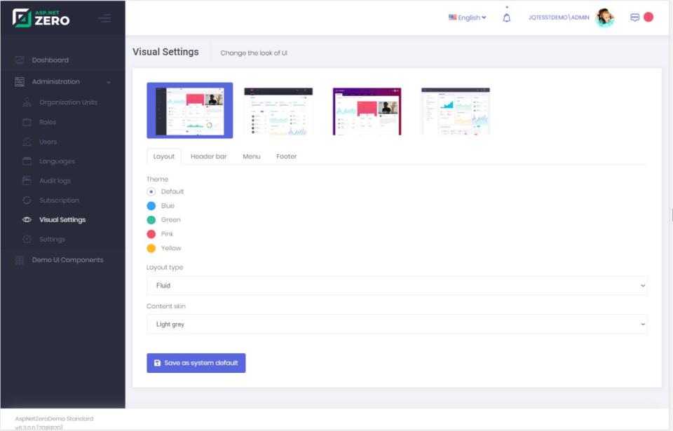 ASP.NET Zero Software - ASP.NET Zero UI / visual settings