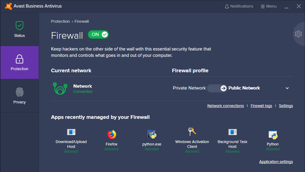 Avast Business Antivirus firewall protection