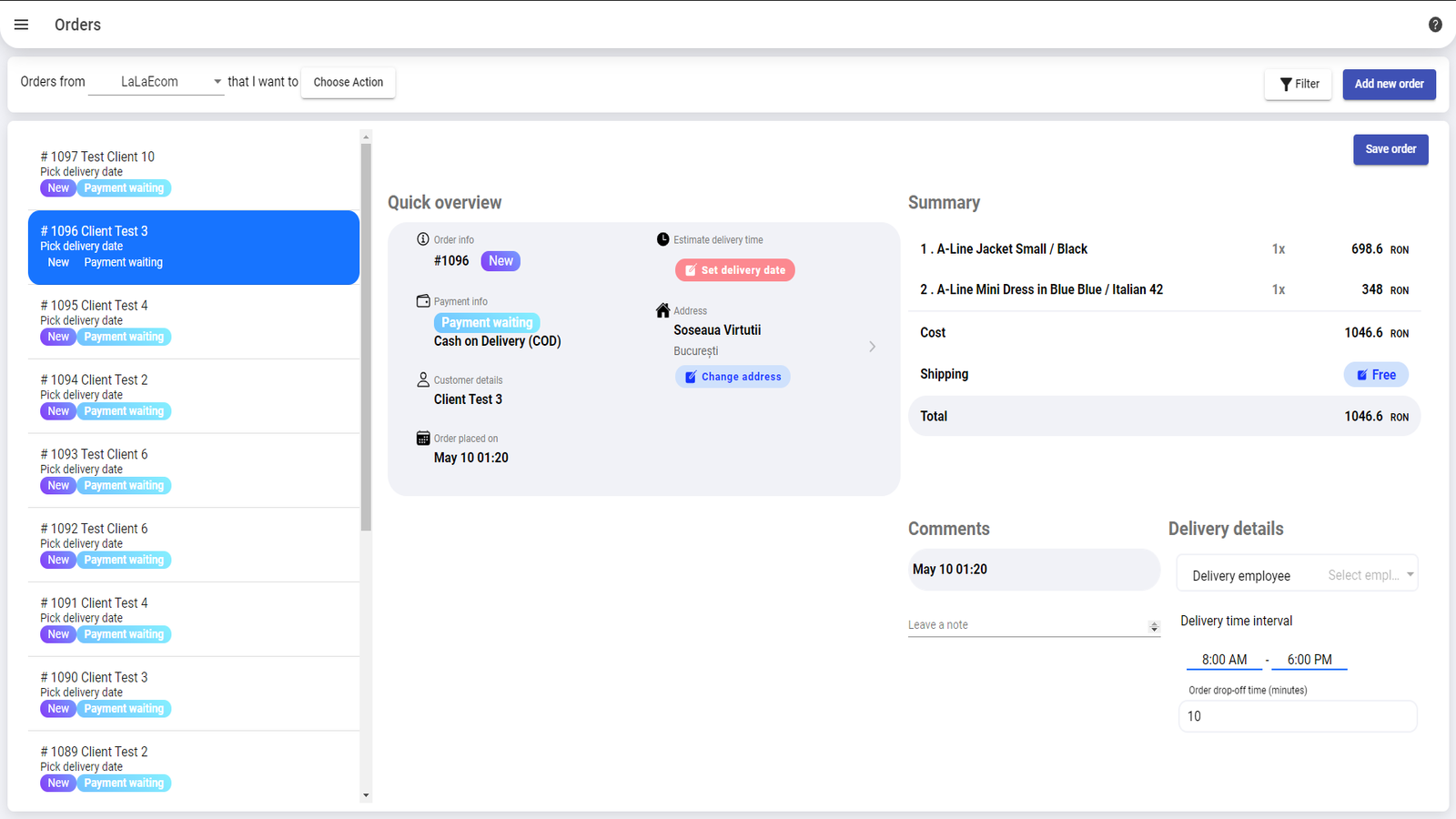 Logistia screenshot: Logistia order management