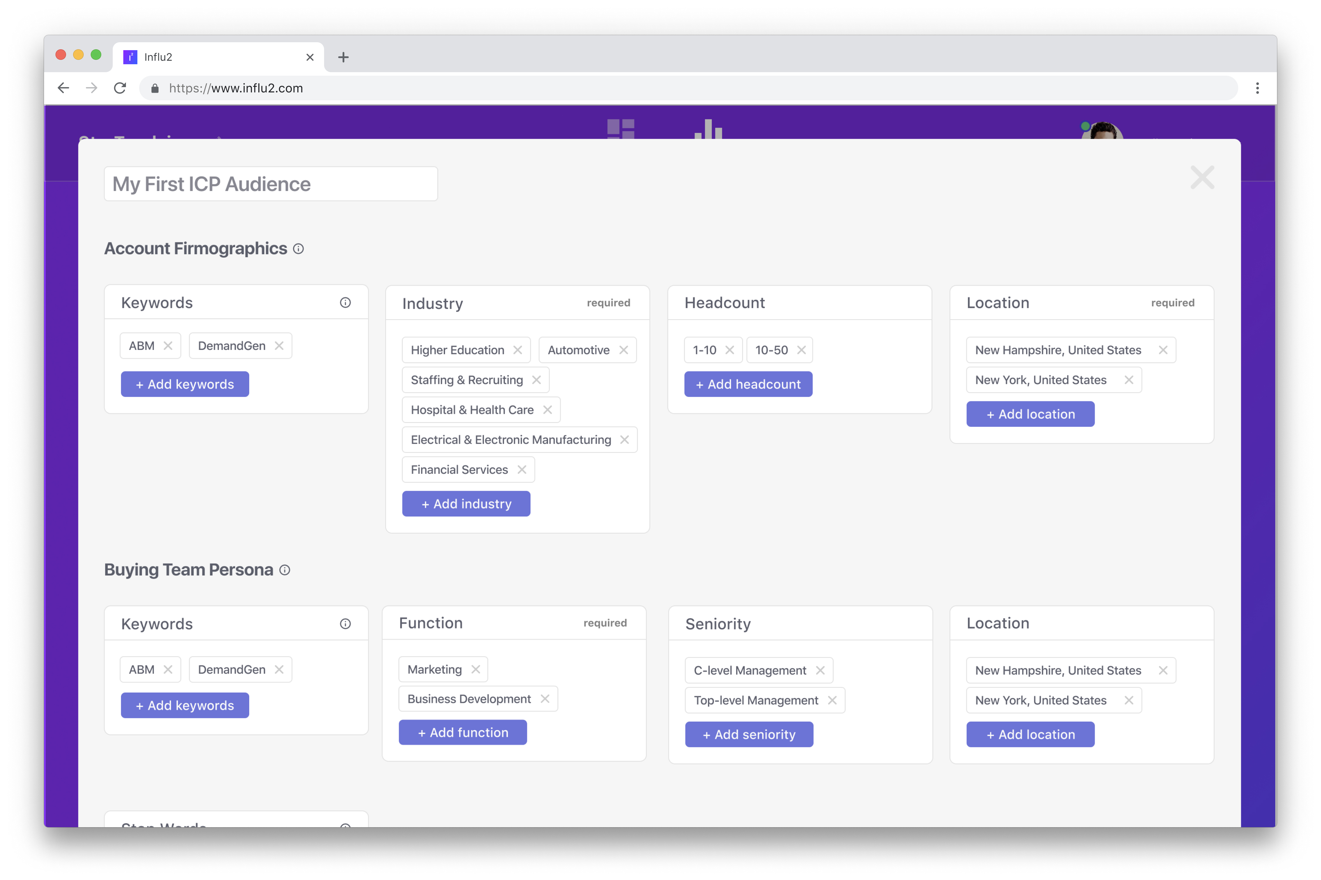 Build your custom audience. Create an audience by criteria and/or upload a list as a file or simply connect a CRM system