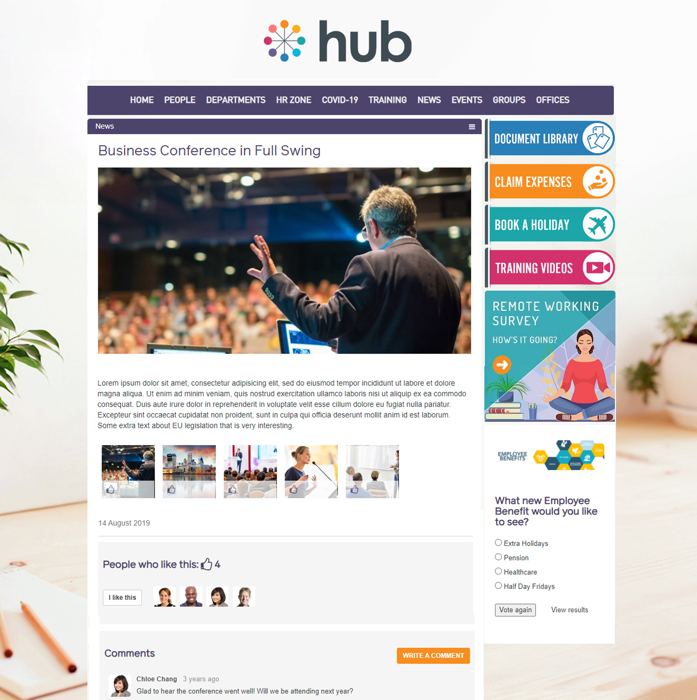 Hub News Article - Categorise your news articles, turn on social features for Liking and Comments, and add rich media i.e. polls, forms, image galleries, etc.