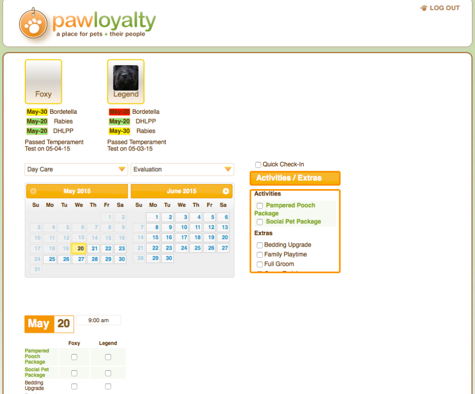 PawLoyalty appointment booking with calendar scheduling