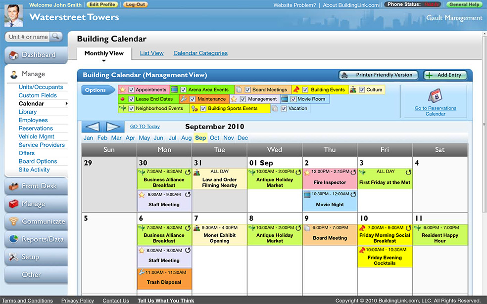 BuildingLink Software - Calendar view
