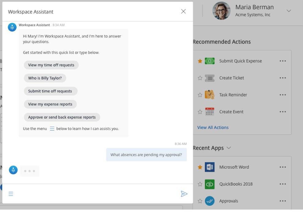 Citrix Workspace virtual assistant