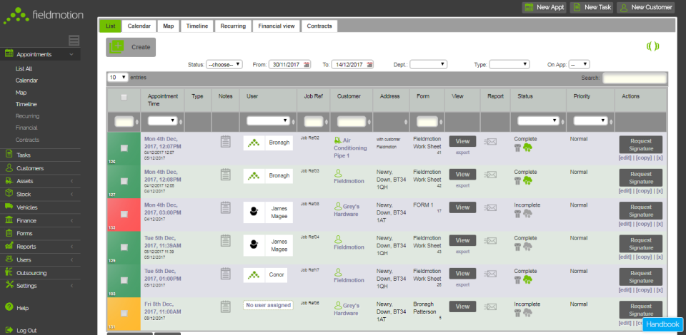 Track appointment details, status and actions from a centralized dashboard