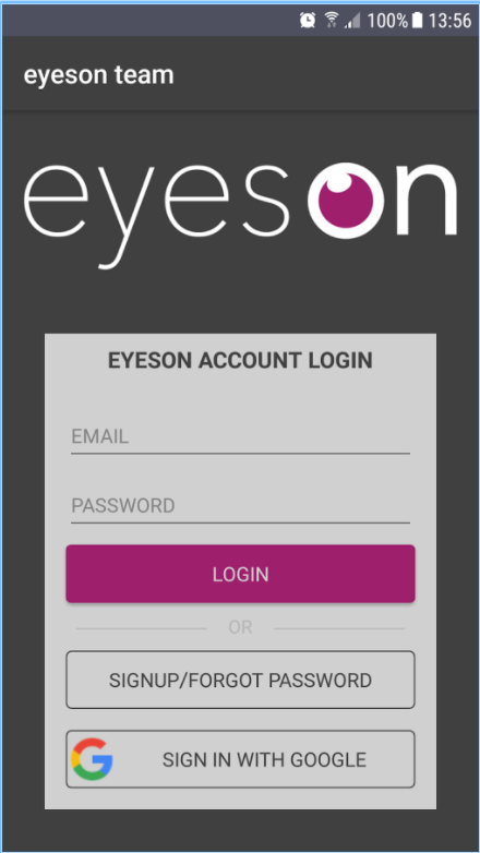 Log in securely with email and password