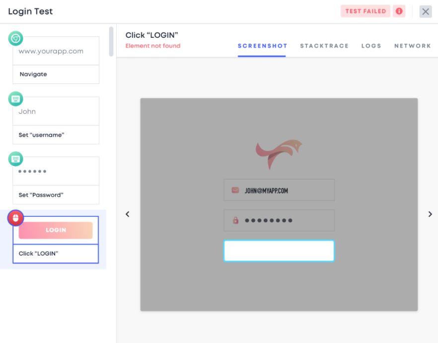 Testim test screenshot
