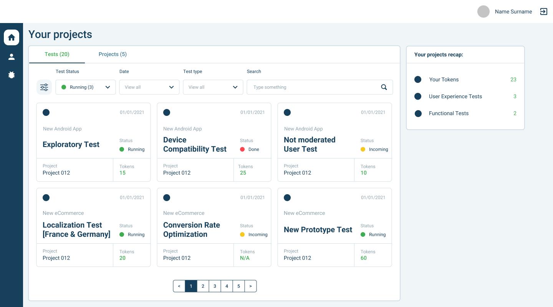 AppQuality's platform: example of customer dashboard
