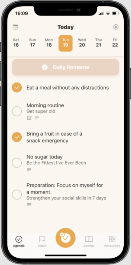 A smart to do-list synced with personal and company goals to reduce stress.