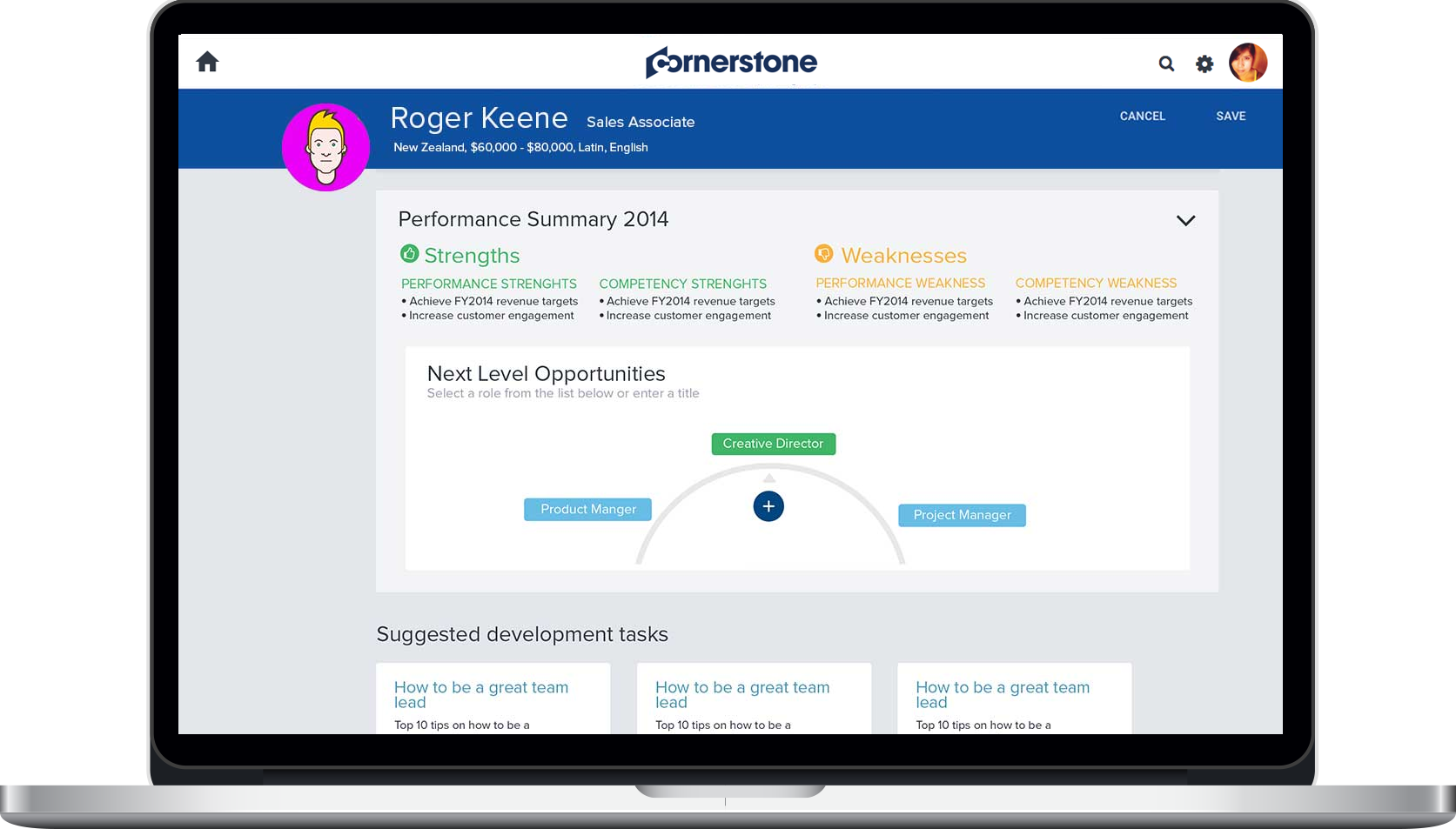 Performance Summary provides in-depth details such as strengths and weaknesses, next-level opportunities and suggested development tasks.