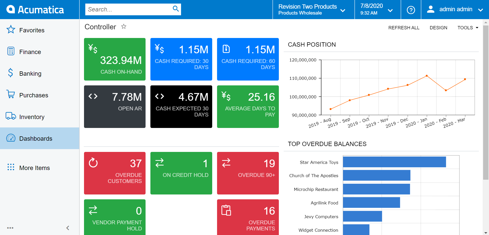 Acumatica Cloud ERP Software - Controller Dashboard: Cash Postion, Balances, Projections