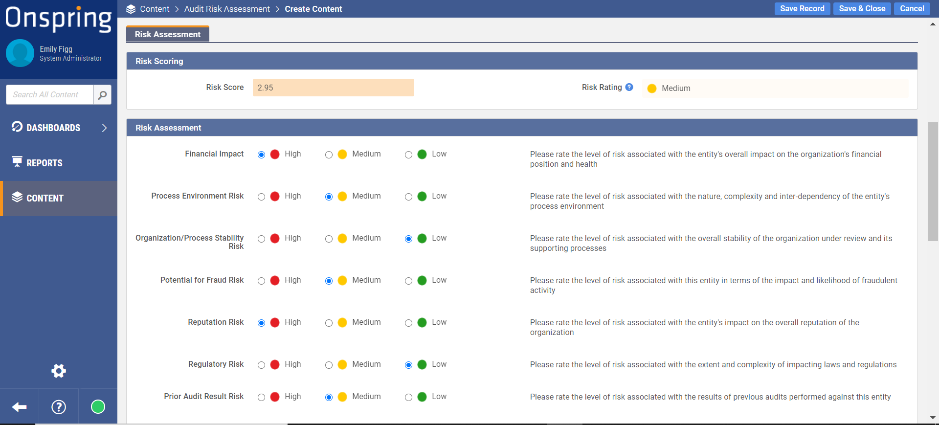 Formulas Automatically Score Risks in Onspring Automation Software