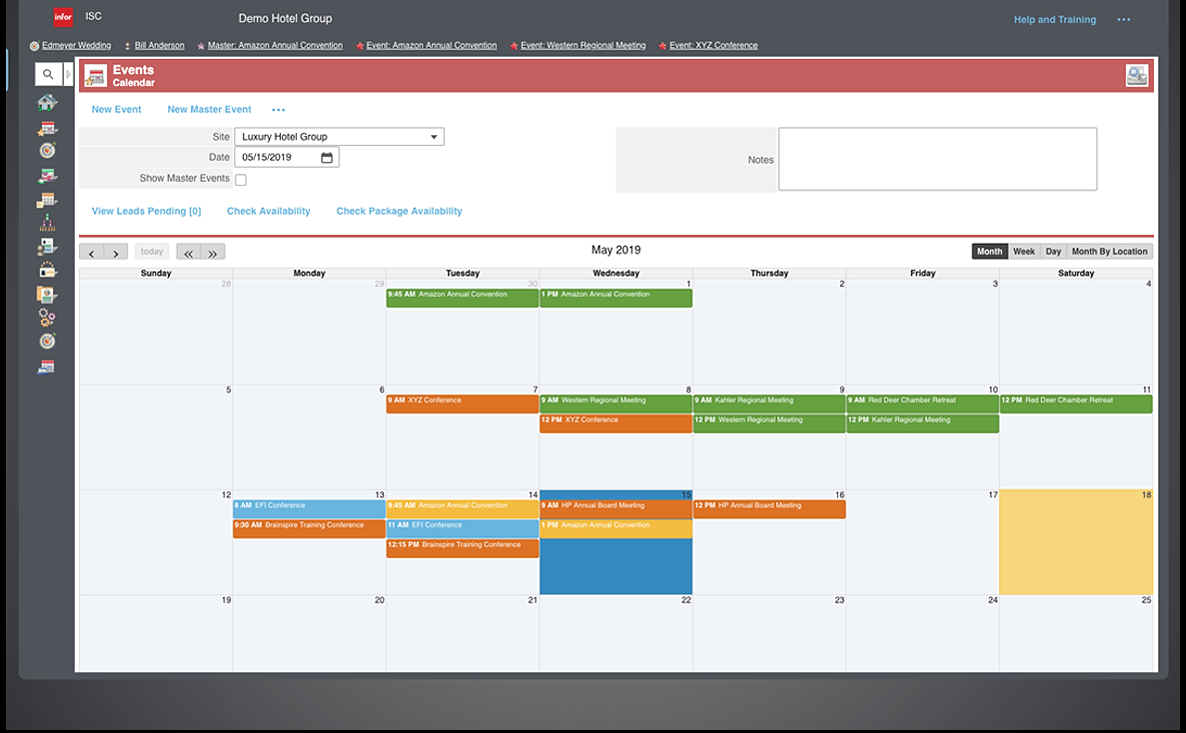 Infor Sales and Catering events calendar