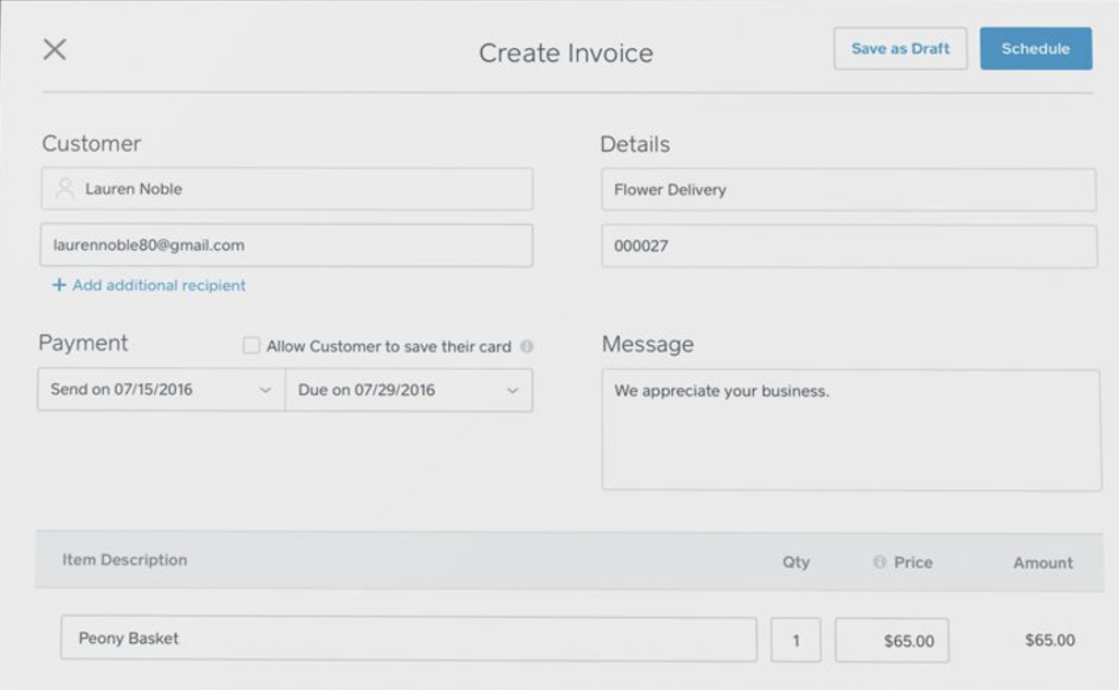 Users can schedule invoice sending and set payment due dates