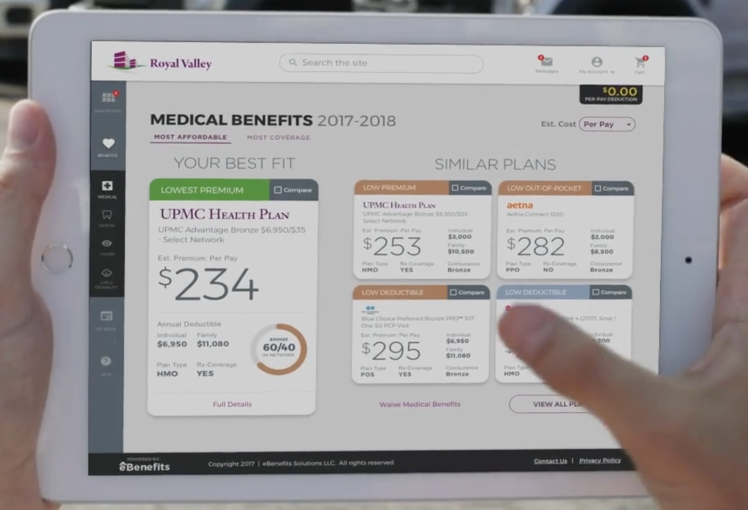 Employees can view their medical benefits