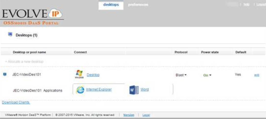 Virtual Desktop screenshot: DaaS desktops information