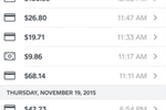 Square Point of Sale Screenshot: Users can track daily activity and search for individual transactions