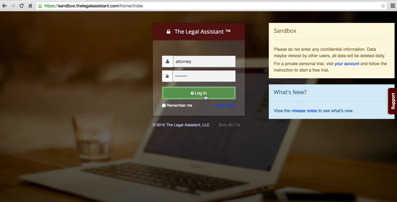 The Legal Assistant user login