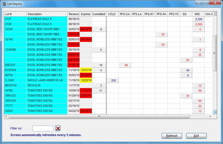SR2Food Software - Lot Inquiry Screen